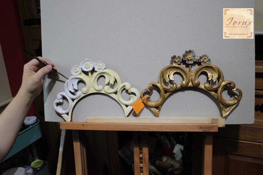1 - element decorativ sculptat, in timpul integrarii cromatice