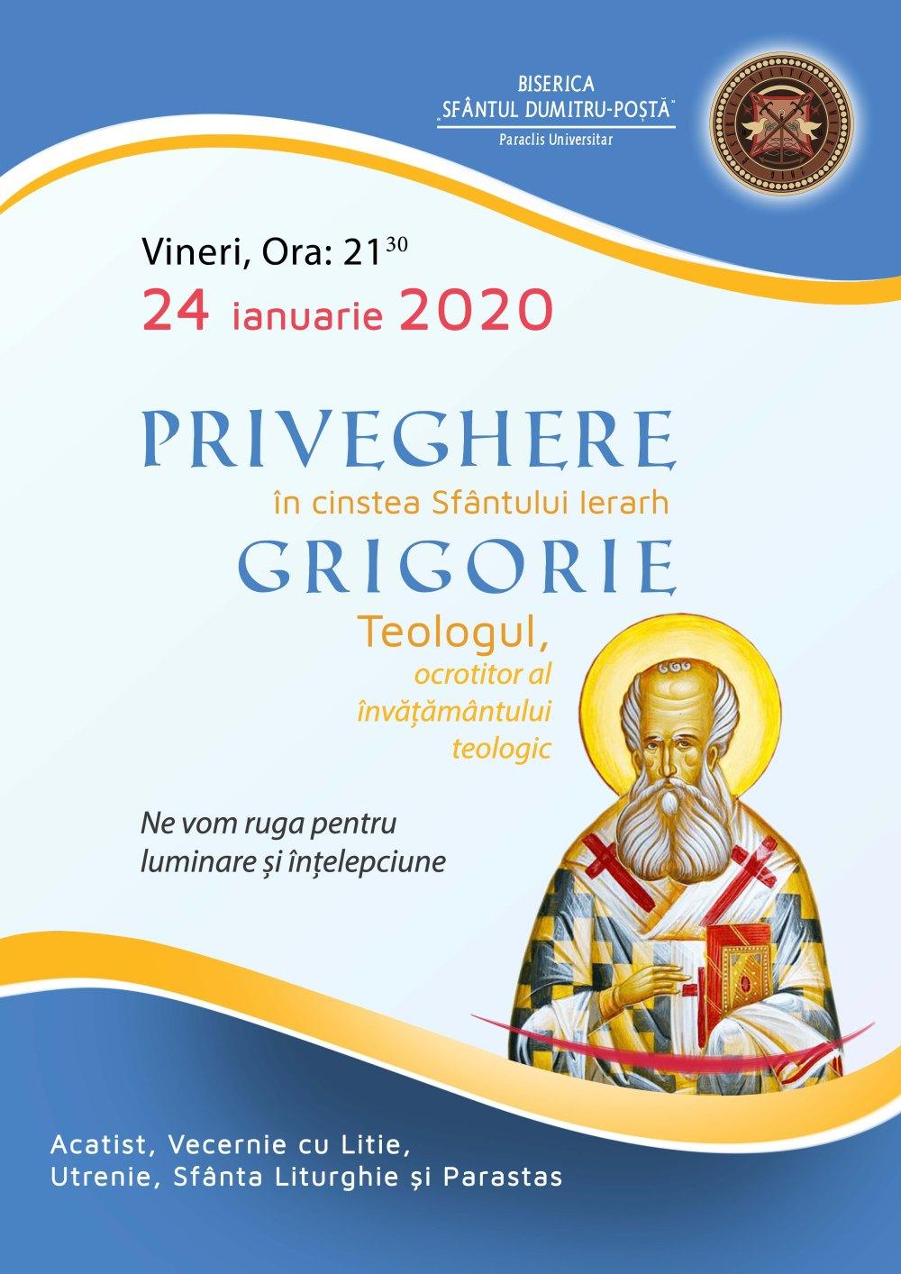 afis priveghi sf. Grigorie Teologul